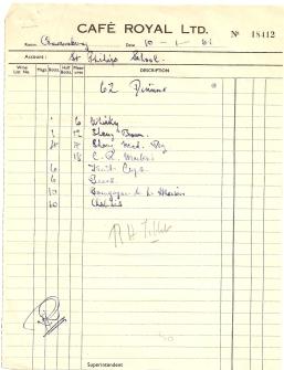 1961 cafe royal drinks bill